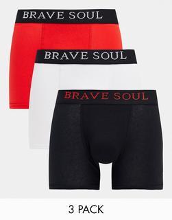 Brave Soul - Boxershorts mit kontrastierendem Taillenbund im 3er-Pack-Mehrfarbig