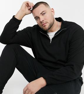 ASOS DESIGN - Plus – Schwarzes, übergroßes Sweatshirt mit halblangem Reißverschluss