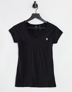 G-Star - T-Shirt in Schwarz mit V-Ausschnitt