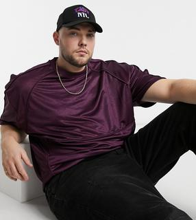 ASOS DESIGN - Plus – Oversize-T-Shirt mit Paspelierung aus lilafarbenem Poly-Tricot-Material-Violett