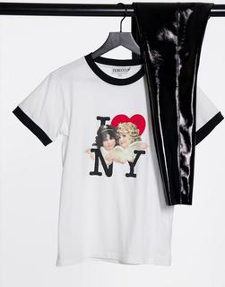 "Fiorucci - I love NY""-T-Shirt in Weiß"