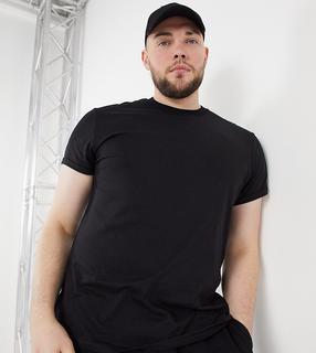 ASOS DESIGN - Plus – Schwarzes T-Shirt mit Rundhalsausschnitt und Rollärmeln