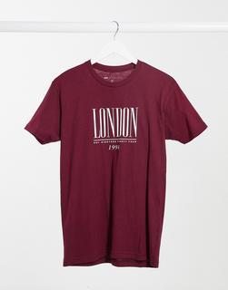 ASOS DESIGN - Oversize-T-Shirt mit London-Logo in Dunkelrot