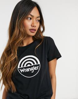 Wrangler - T-Shirt mit rundem Logo in Schwarz