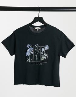 Miss Selfridge - Blau geblümtes T-Shirt in Schwarz