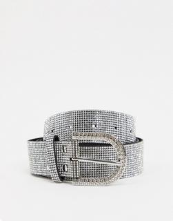 My Accessories Curve - My Accessories London – Taillen- und Jeansgürtel mit Strassbesatz-Silber