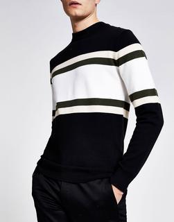 River Island - Sweatshirt mit Farbblockdesign-Schwarz