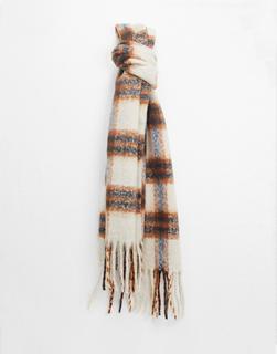 Vero Moda - Flauschiger Schal aus recycelten Materialien in Creme kariert und gebürstet-Mehrfarbig
