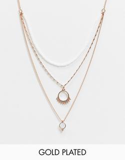 Pilgrim - Vergoldete, mehrlagige Halskette in Roségold-Rosa