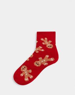 ASOS DESIGN - Slipper-Socken mit Lebkuchen-Männchen-Muster-Rot