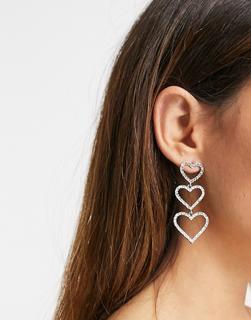 ASOS DESIGN - Silberfarbene Ohrringe im Herzdesign mit Kristallbesatz