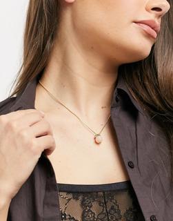 Pilgrim - Vergoldete Halskette mit einer großen rosafarbenen Aventurinperle und einem klaren Kristallanhänger
