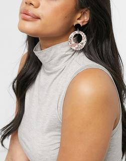 Pilgrim - Vergoldete Ohrringe mit flachen Scheiben im Marmormuster