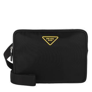 Prada - Umhängetasche - Messenger Crossbody Bag Black/Yellow - in schwarz - für Damen
