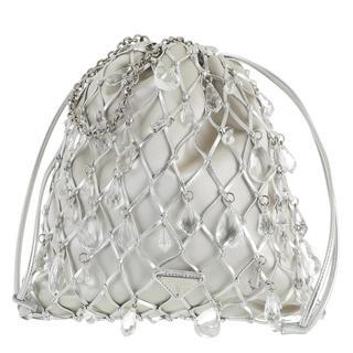 Prada - Umhängetasche - Mesh Satin Crossbody Bag Argento - in silber - für Damen