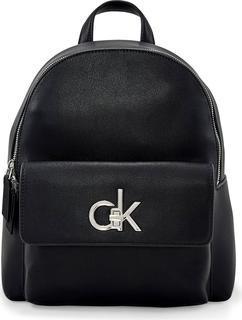 Calvin Klein - Rucksack Round Bp W/flap in schwarz, Rucksäcke für Damen