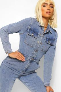 boohoo - Womens Denim-Jumpsuit Im Vintage-Wash-Look Und Tasche - Vintage-Waschung - 40, Vintage-Waschung