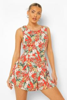 boohoo - Womens Floral Print Sleeveless Flippy Playsuit - Red - S, Red
