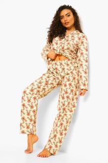 boohoo - Womens Pyjama-Set Aus Gebürsteter Baumwolle Mit Rentier-Motiv Und Hose - Creme - 20/22, Creme