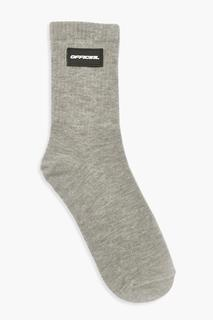 boohoo - Womens Official Rubber Badge Sports Sock - Grey Marl - One Size, Grey Marl