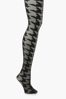 boohoo - Womens Dogtooth Tights - Black - One Size, Black