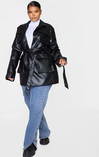 PrettyLittleThing - Plus Black PU Longline Pocket Front Jacket, Black