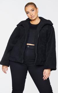 PrettyLittleThing - Plus Black Borg Zip Up Oversized Jacket, Black