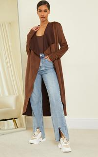 PrettyLittleThing - Chocolate Faux Suede Waterfall Maxi Duster Jacket, Chocolate