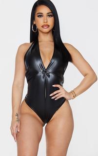 PrettyLittleThing - Shape Black PU Knot Detail Halterneck Bodysuit, Black