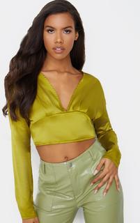 PrettyLittleThing - Olive Satin Plunge Tie Back Blouse, Green