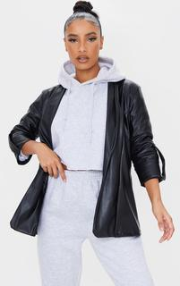 PrettyLittleThing - Black PU Turn Up Sleeve Blazer, Black