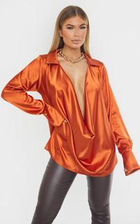 PrettyLittleThing - Rust Extreme Cowl Long Line Satin Shirt, Orange