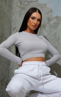 PrettyLittleThing - Grey Soft Rib Crop Waistband Long Sleeve Crop Top, Grey