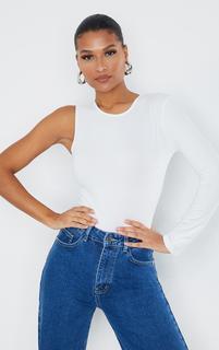 PrettyLittleThing - Cream Jersey Soft Touch Crew Neck One Shoulder Bodysuit, White