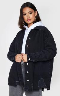 PrettyLittleThing - Washed Black Oversized Drop Shoulder Distressed Denim Shirt, Washed Black