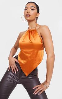 PrettyLittleThing - Rust Satin Halterneck Pointed Hem Long Top, Orange
