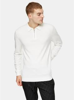 Topman - Mens Considered White Zip Knitted Polo, White