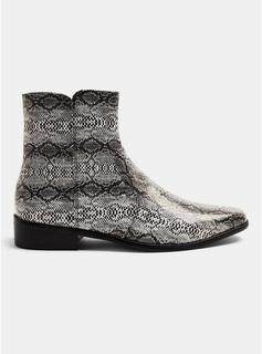 Topman - Mens Beige Snake Print Suede Boots, Beige