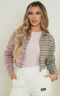 PrettyLittleThing - Pink Flannel Check Spliced Crop Shirt, Pink