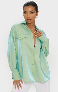 PrettyLittleThing - Sage Premium Woven Metallic Oversized Shirt, Sage Khaki