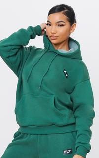 PrettyLittleThing - Forest Green Badge Detail Oversized Hoodie, Forest Green