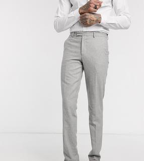 Harry Brown - Tall – Wedding – Schmal geschnittene Sommer-Anzughose aus Tweed-Grau