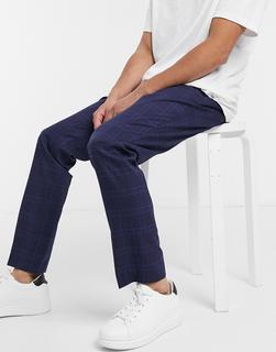 Selected Homme - Schmale Anzughose in Marine kariert-Marineblau