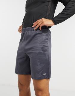 ASOS 4505 - Sport-Shorts mit Varsity-Design aus Jacquard-Grau