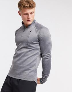 ASOS 4505 - Icon – Muskel-Trainingssweatshirt mit 1/4 Reißverschluss in Kalkgrau