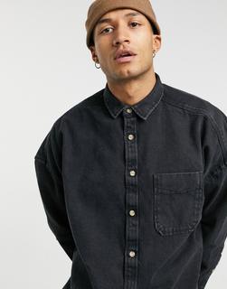 ASOS DESIGN - Langes Oversize-Jeanshemd aus Bio-Denim in verwaschenem Schwarz-Grau