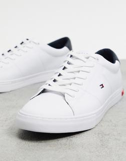 TOMMY HILFIGER - Essential Vulc – Leder-Sneaker in Weiß mit Flaggen-Logo