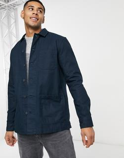 Burton Menswear - Hemdjacke in Marineblau mit 3 Taschen