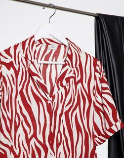 JDY - Tara – Kastenförmiges, kurz geschnittenes Hemd mit rotem und cremeweißem Zebramuster