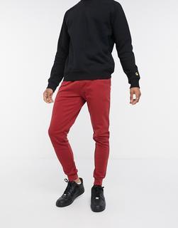 ASOS DESIGN - Enge Jogginghose mit Bio-Baumwolle in Rot-Schwarz
